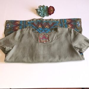 Johnny Was Embroidered Linen Blouse Size XS